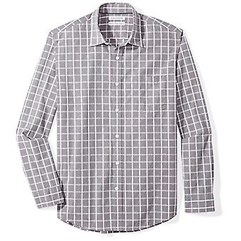Essentials Men's Regular-Fit Long-Sleeve Casual Poplin Shirt, grey win...