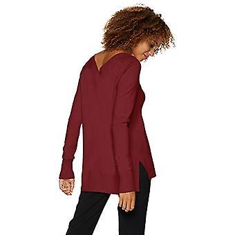 Marque - Lark & Ro Women's Long Sleeve Oversized Double V-Neck Sweater,...