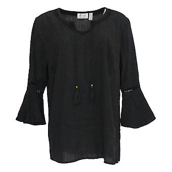Denim & Co. Damen's Top Crinkle Gaze Bell Sleeve Schwarz A306777