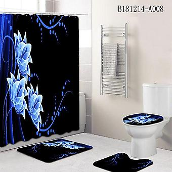 Marble Printing Waterproof Shower Curtain And Rug Set