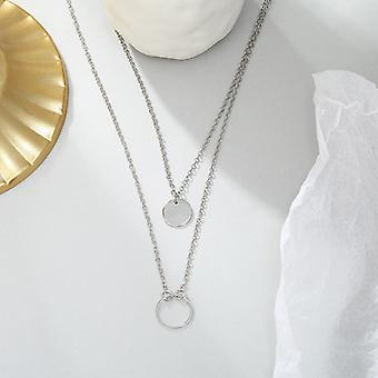 Silver Double Layer Chain Pendant Necklace