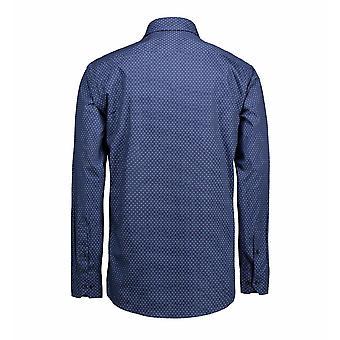ID Mens Print Virginia Shirt Langarm moderne Passform