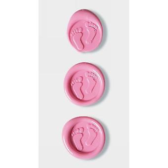 Artoz でピンクの赤ちゃん足ワックス シール
