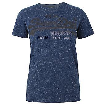 Superdry Frauen's reiche Marine schneebedecktvl tonal Glitzer T-shirt