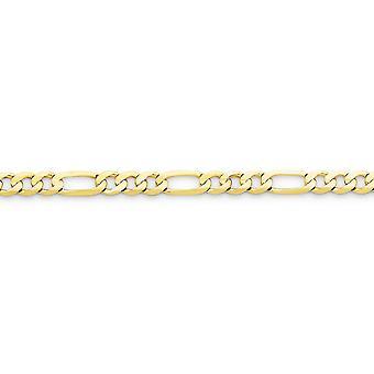 10k žlté zlato pevné konkávne leštené svetlo Figaro reťazový náramok 5,25 mm homár pazúr šperky darčeky pre ženy - Dĺžka: