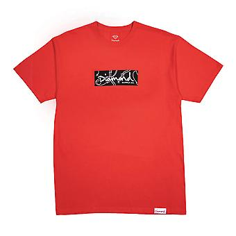 Diamond Supply Co Rosaire Box Logo T-shirt Rouge