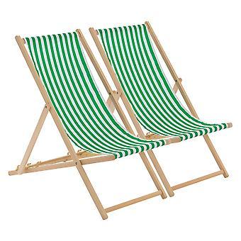 Traditionell justerbar trädgård / Deck Chair i strandstil - Grön / Vit Rand - Förpackning med 2