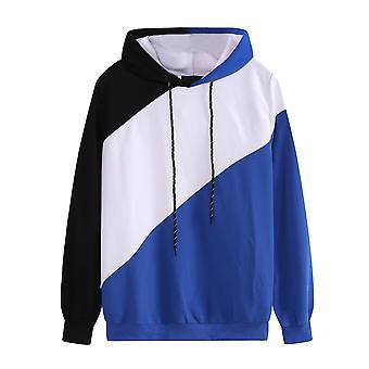 YANGFAN Mens Color Block Hoodie Loose Pullover Sweatshirts Top
