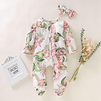 Newborn Infant Baby Footed Sleeper Romper, Headband Clothes, Outfits Set