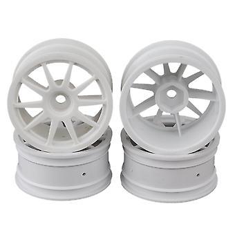 White Plastic 10-Spoke Wheel Rims for RC1:10 On-Road Car & Drift Car Set of 4
