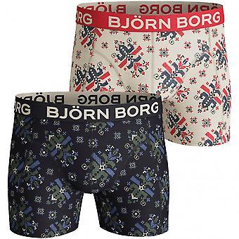 Björn Borg 2-pack juhlava painatus bokserit lahjasetti, tummansininen/valkoinen
