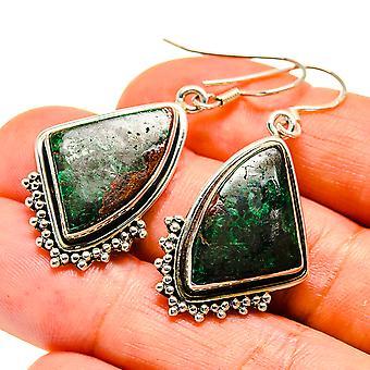 """Chrysocolla Earrings 1 3/4"""" (925 Sterling Silver)  - Handmade Boho Vintage Jewelry EARR407546"""