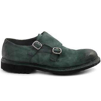 Pantof cu cataramă dublă Barrow&s în piele de căprioară verde