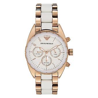 Armani Ar5942 Valkoinen & Ruusu kulta ruostumaton teräs kronografi Naisten Watch
