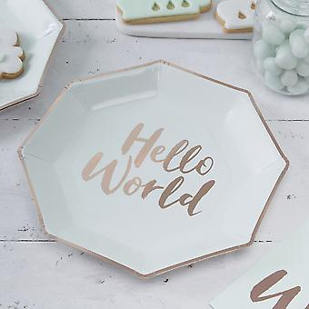 Baby Shower Paper Plates Mint and Rose Gold Foiled - Hello World x 8