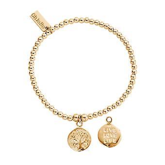 ChloBo GBCC213 Gold Tone Cute Charm Live Love Life Bracelet