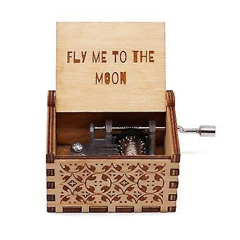 Wooden Hand Crank Music Box Toy.