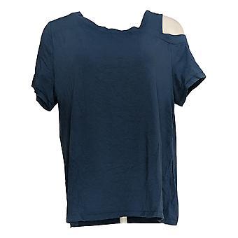 Anybody Women's Top Off-Shoulder Asymmetrical T-Shirt Blue A377819