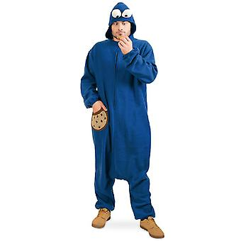 Biscuit Monster Hooded Overall Costume Adult Blue Crumb Biscuits Monster Jumpsuit