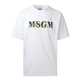 Msgm 2940mm22020759801 Mænd's White Cotton T-shirt