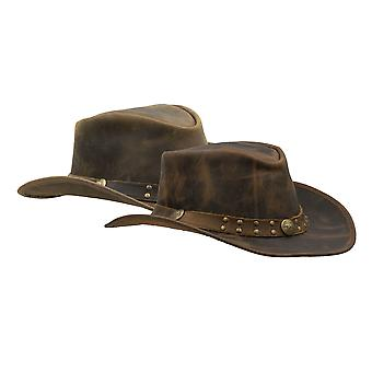 Walker and Hawkes - Cuir Cowhide Outback Brisbane Two Tone Hat