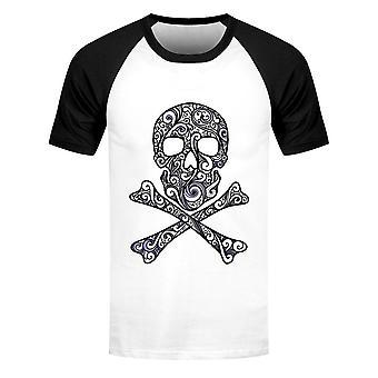Grindstore Miesten graafinen kallo ja crossbones lyhythihainen baseball t-paita