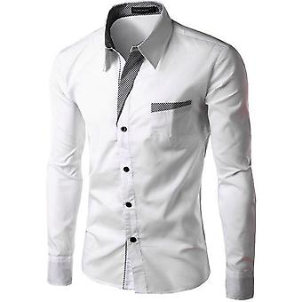 قميص طويل الأكمام الرجال سليم تناسب تصميم قميص رسمي عارضة