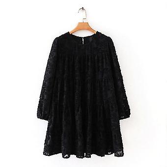 المرأة ارتفاع نسيج الشارع نمط عارضة فستان صغير فضفاض