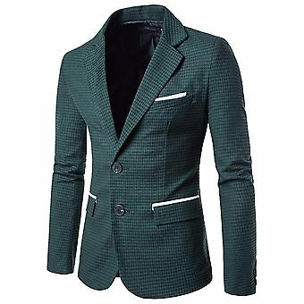 Fashion Men Slim Fit Suit Jacket Lattice Autumn Winter Casual Blazer