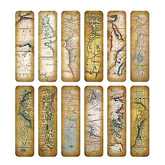 30pcs/box Vintage Retro Style, Clock/newspaper/map Printed-bookmarks