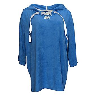 Anybody Women's Plus Sweater Baby Terry Lace Up Hoodie Blue A354748