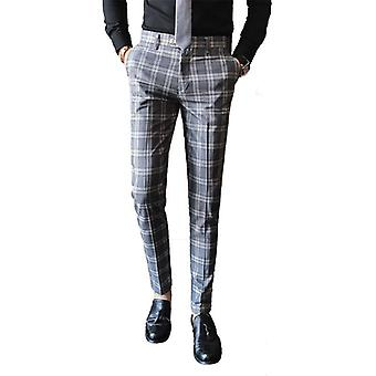 Men's Plaid Pants Fashion Casual Trousers Dress Pants Slim Fit