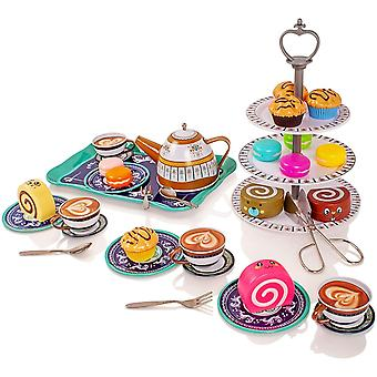 Milly & ted 39 piece afternoon tea party teaset for 4 - childrens metal tea set - pretend play food