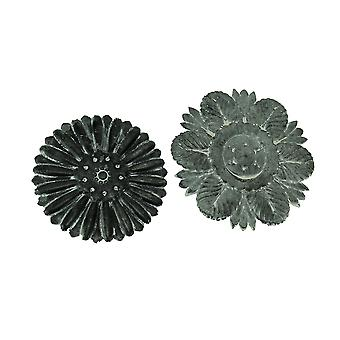 Set of 2 Distressed Embossed Tin Flower Decorative Wall Plaques