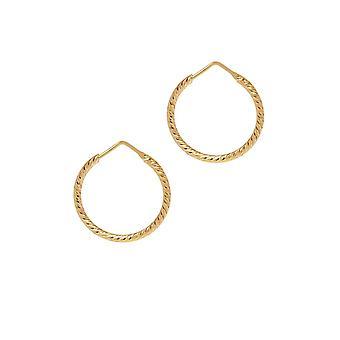 The Hoop Station La ROMA Diamond-Cut Gold Plated 24 Mm Hoop Earrings H101Y
