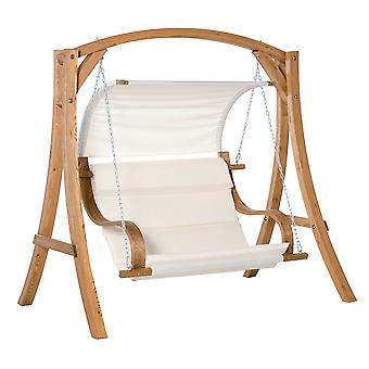 Outsunny Wooden Porch Swing Chair A-Frame Wood Log Swing Bench Chair With Canopy and Cushion for Patio Garden Yard