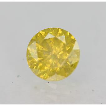 Cert 0,42 karat elävä keltainen SI3 pyöreä brilliant parannettu luonnollinen timantti 4,66mm