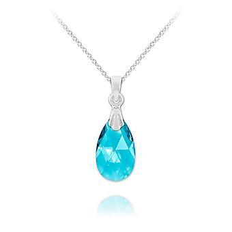 Silver aquamarine pear necklace