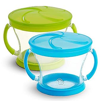Snack Catcher, Leakproof Snack Cup, 2 Pack, Blue/green