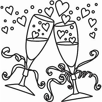 Hampton Art Wood Mounted Stamp - Champagne Glasses