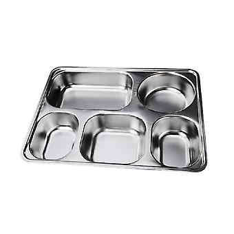 Deepen Thick Stainless Steel Plate Snack Square Stainless Steel Sub-grid Covered Five Grid Fourfold Rice Dish Lunch Boxes Free Shipping