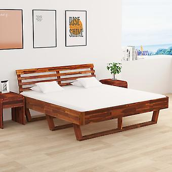 vidaXL bed frame with 2 bedside tables solid wood acacia 180x200 cm