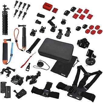 FengChun Actioncam Zubehr Set Sport XL - 49-teiliges Zubehr Set, inkl. Tasche, Mini Stativ und