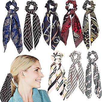 8Pcs women bandeau streamers ponytail satin hair ring