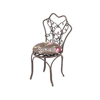 Poupées Maison Brown Metal Bistro Garden Chair Miniature Reutter Patio Meubles