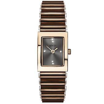 Seksy 2914 Stone Set Rose Gold & Brown Stainless Steel Ladies Watch