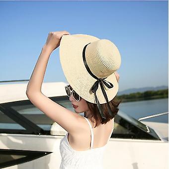 simple Pliable Large Brim Floppy Filles Chapeau de paille Sun Hat Beach Femmes Summer Hat UV Protéger Voyage Cap Lady Cap Femelle