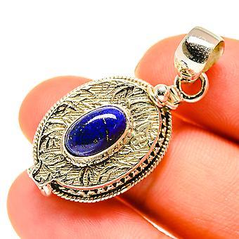 "Lapis Lazuli Poison Pendant 1 1/2"" (925 Sterling Silver)  - Handmade Boho Vintage Jewelry PD760433"
