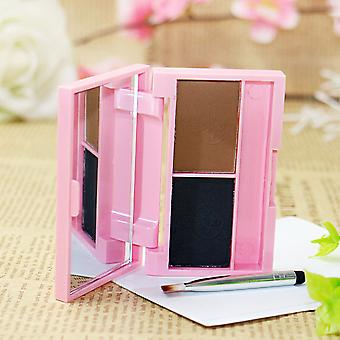 Cute Size Kit Eyebrow Powder Palette With Brush Mirror Double Color Waterproof
