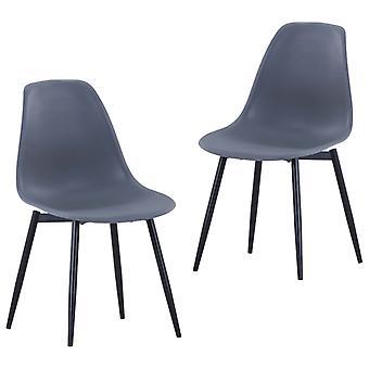 vidaXL تناول الطعام الكراسي 2 PCS. رمادي PP